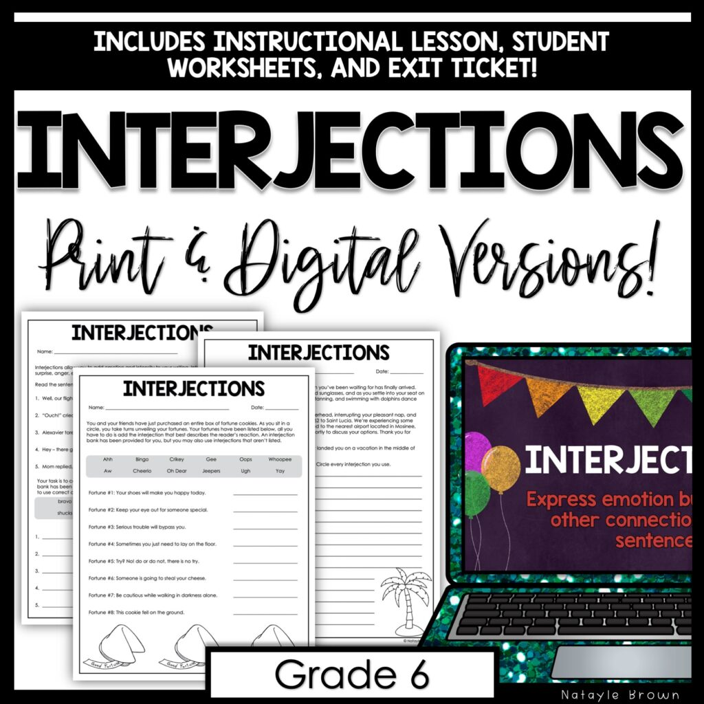 Interjections for Middle School - Grammar Bits - Hey Natayle